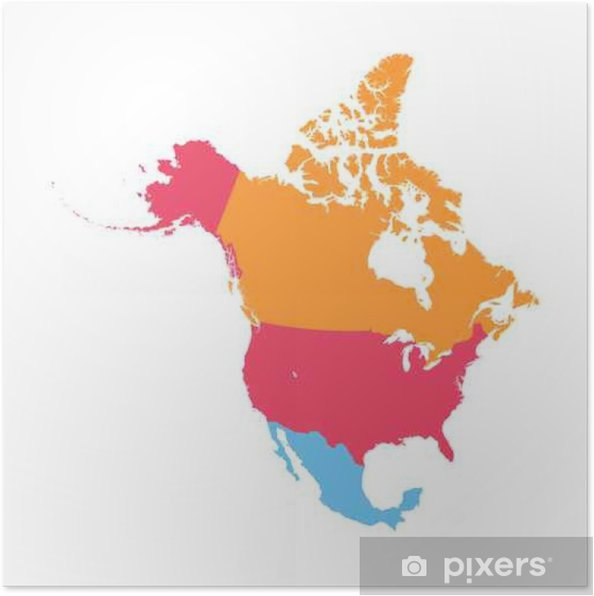 North America vector map Poster • Pixers® • We live to change