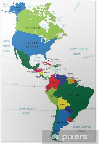 North and South America map Poster