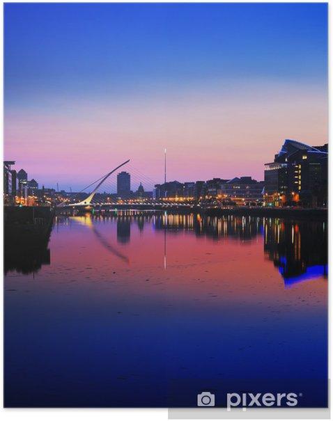 North bank of the river Liffey at Dublin City Center at night Poster - Europe