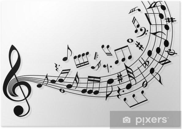 Póster Notas de la música -