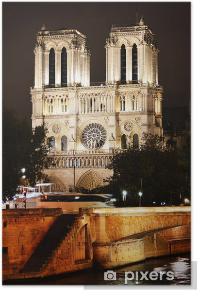 Notre-Dame Cathedral in Paris, France by night Poster - European Cities