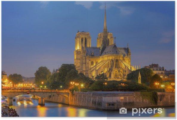 Poster Notre Dame de Paris at night - Thèmes
