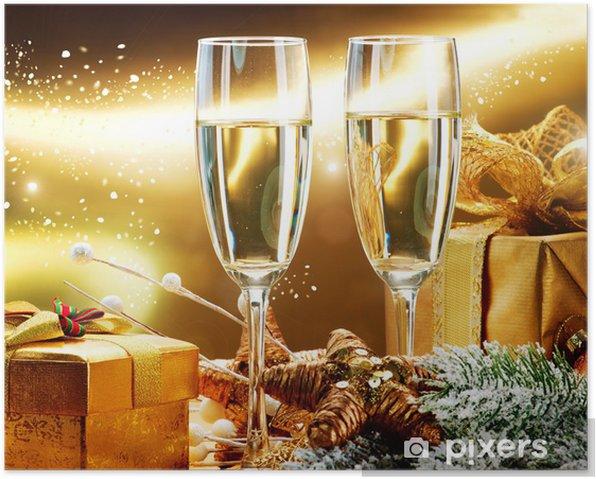 Poster Nouvel An design de carte avec du champagne. Fête de Noël - Fêtes internationales
