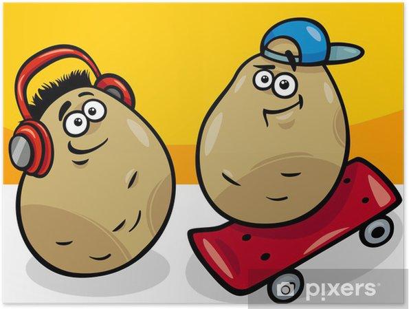 Poster Nouvelle illustration de pommes de terre pommes de terre de bande dessinée - Repas