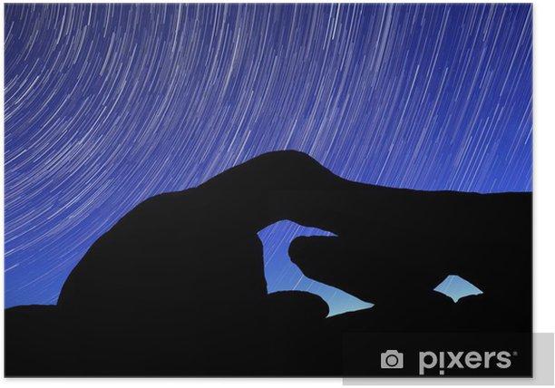 Poster Nuit étoiles Trail Séries sur les rochers de Joshua Tree Park - Désert