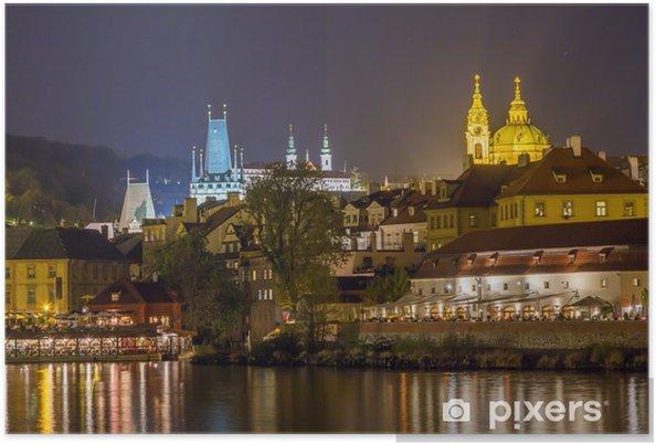 Poster Nuit Prague - Villes européennes