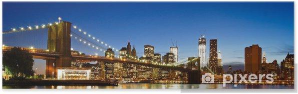 Póster NYC Puente de Brooklyn Panorama - Puente de Brooklyn