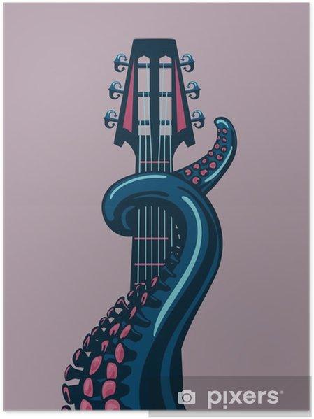 Poster Octopus tentakel houdt een gitaar riff. - Hobby's en Vrije tijd