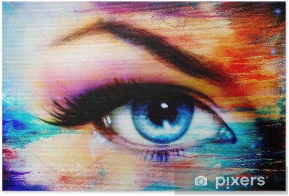 Poster Oeil De Femme Bleue Avec Maquillage Jour Violet Et Rose