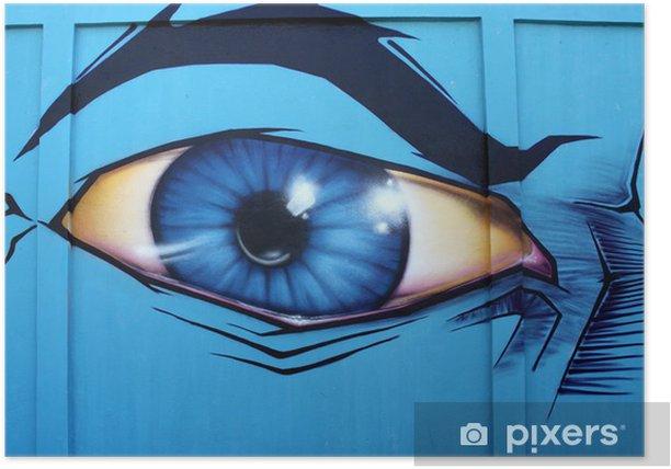 oeil,yeux,graffiti,tag,mur,bleu Poster - Themes