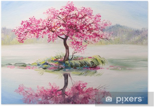 oil painting landscape, oriental cherry tree, sakura on the lake Poster - Hobbies and Leisure