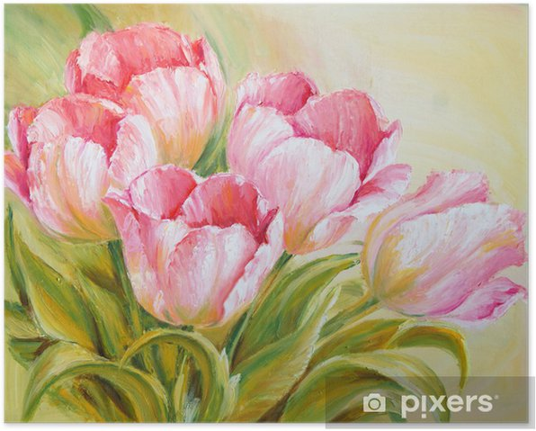 Oil Painting tulips Poster - Styles
