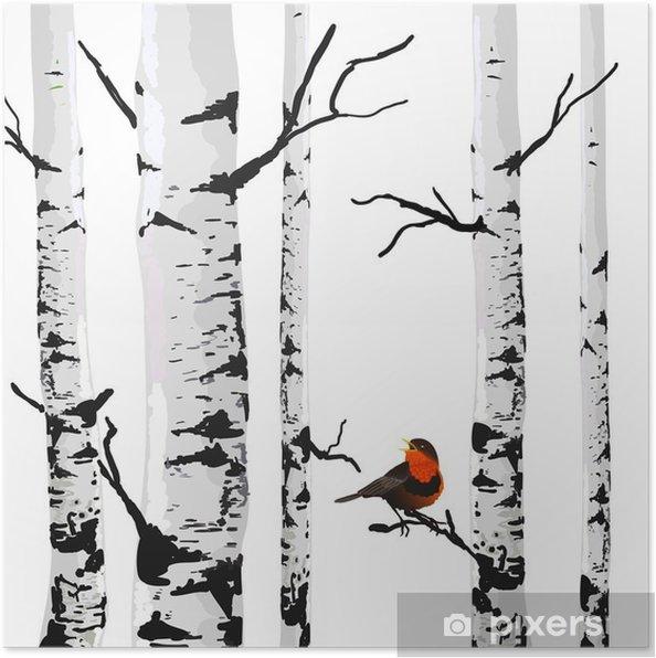 Poster Oiseau de bouleaux, dessin vectoriel avec des éléments modifiables. - Affaires