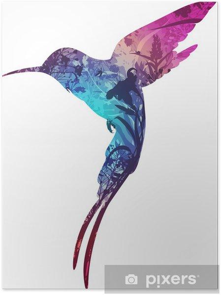 Poster Oiseau humming - Oiseaux