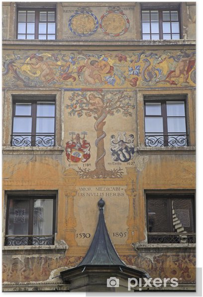 Old beautiful fresco on medieval building in Lucern, Switzerland Poster - Europe