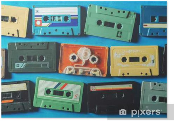 Old cassette tapes on blue wooden table, top view Poster - Hobbies and Leisure