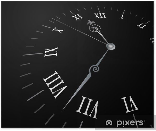 Old clock with roman numbers Poster