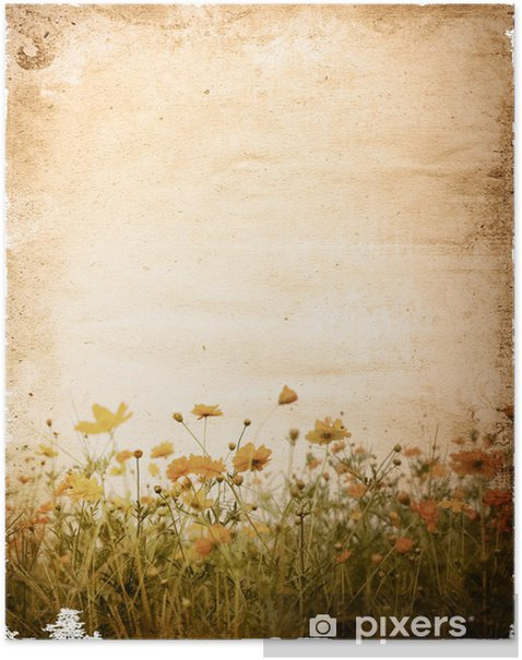 old flower paper - with space for text or image Poster - Art and Creation