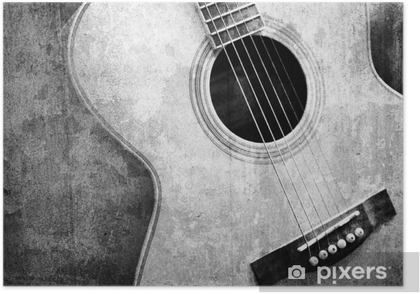 old guitar black and white Poster - Styles
