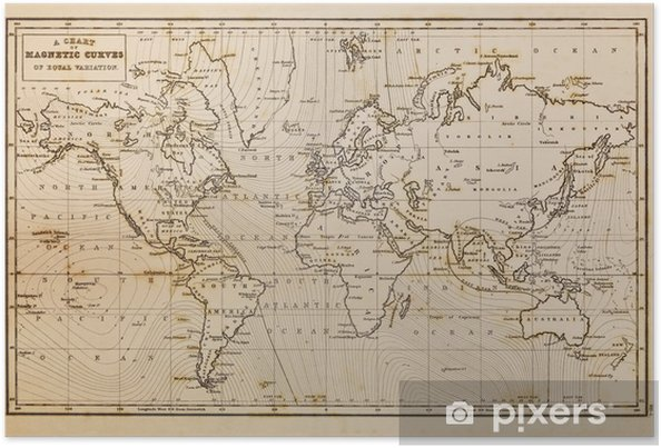 Old hand drawn vintage world map Poster • Pixers® • We live to change