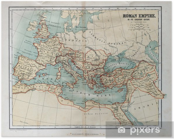 Old map of the Roman Empire, 1870 Poster - Themes