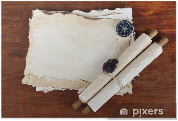 Old paper, scrolls and compass on wooden background Poster
