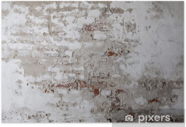 Old Red Brick Wall with Cracked Concrete Poster - Themes