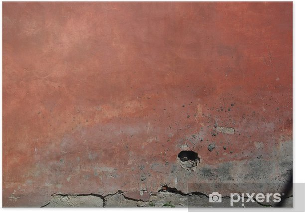 Old red wall Poster - Textures