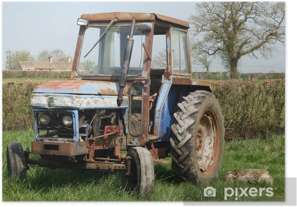 Old rusty tractor in field Poster - Agriculture