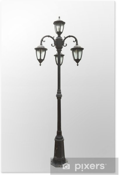 old street lamppost on white background Poster - Electricity