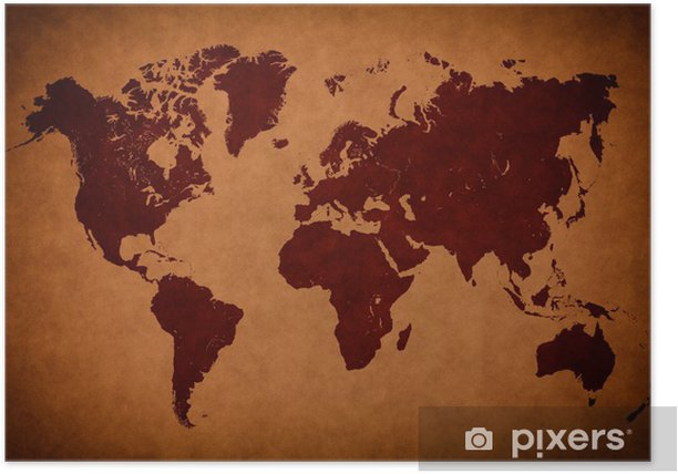 Old vintage world map Poster • Pixers® - We live to change