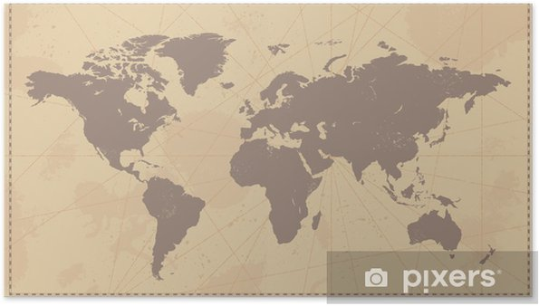 Old Vintage World Map Poster • Pixers® • We live to change