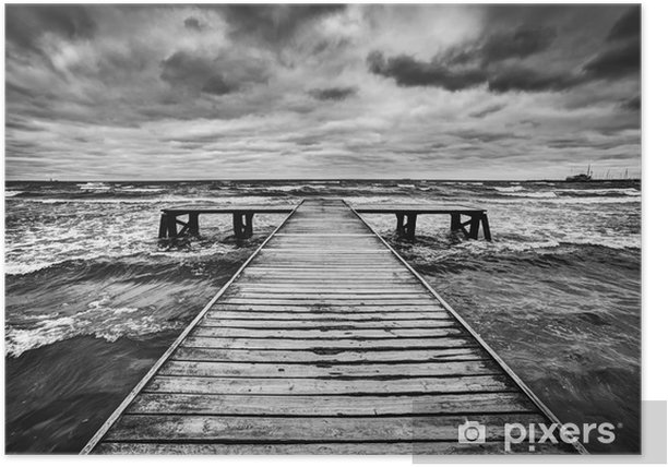 Old wooden jetty during storm on the sea. Dramatic sky Poster -
