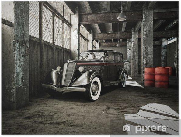 Poster Oldtimer i en gammal fabrikshall - På vägen