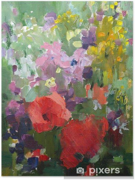 Poster Olieverfschilderij van de prachtige bloemen. - Thema's