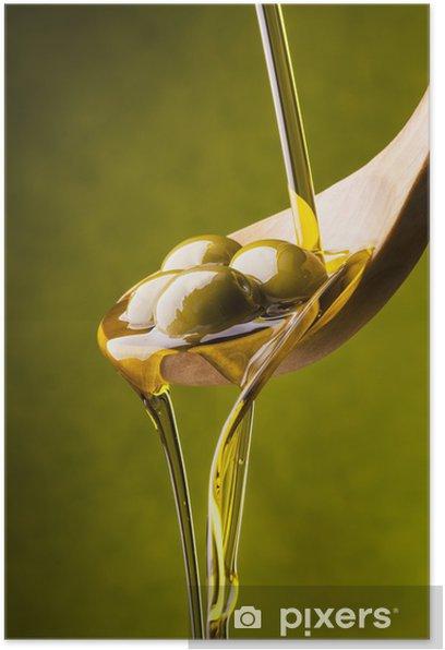 olio di oliva con sfondo verde Poster - Olives