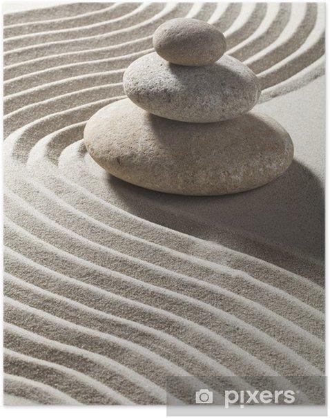 Poster Onde zen sur sable et galets Trois - Destin