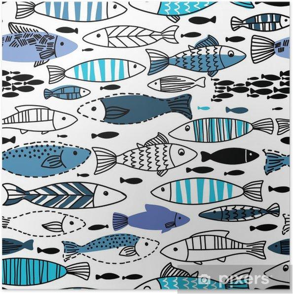 Poster Onderwater naadloze patroon met vissen. Naadloos patroon kan worden gebruikt voor behang, web pagina-achtergronden - Dieren