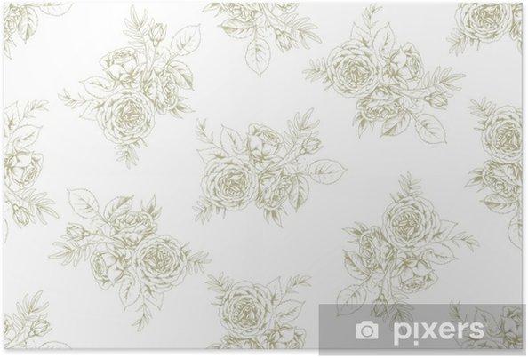 Poster Ontwerp van stof in Franse vintage-stijl met bloemmotief 1 - Grafische Bronnen