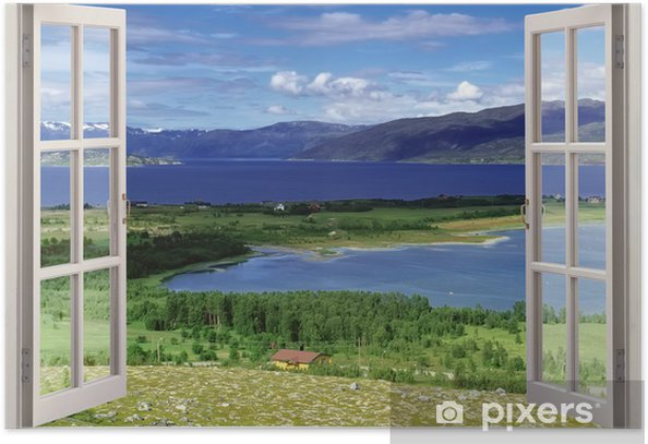 Open window view to landscape with river, hills and fields Poster - Themes
