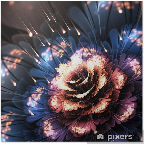 Poster Orange bleu fleur de fractale - Fleurs