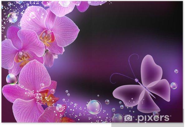 Poster Orchidee en vlinder - Thema's
