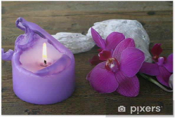 Poster Orchidée et bougie - Fleurs