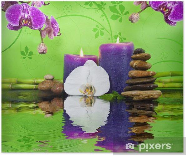 Orchidee Mit Bambus Auf Schieferplatte Kerzen Und Steinen Poster