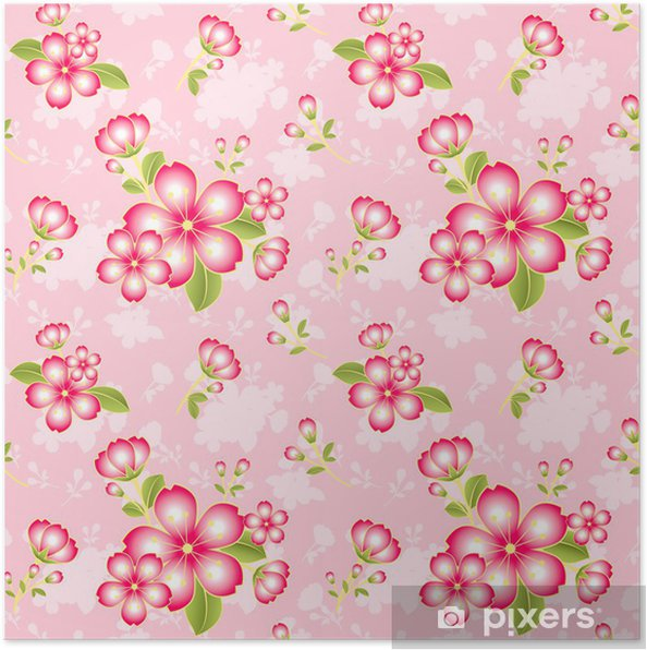 Oriental Flower Seamless Pattern Background Poster