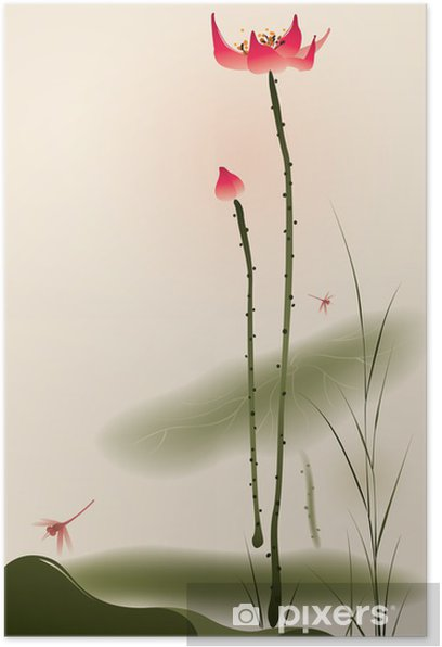 Oriental style painting, tall Lotus Poster - Styles
