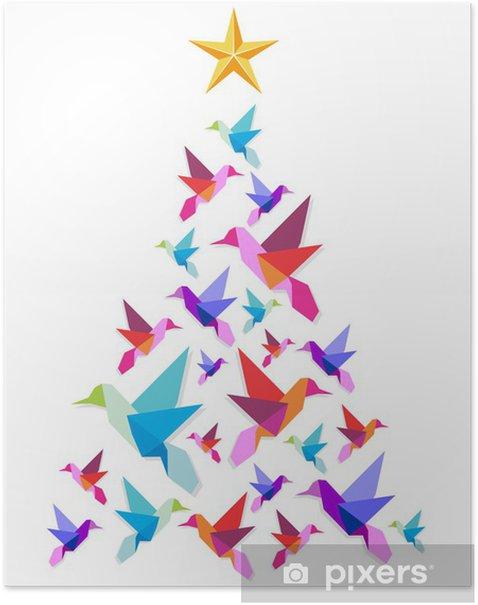Poster Origami colibris arbre de Noël. - Fêtes internationales