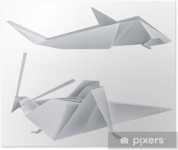 Poster Origami_grasshopper_shark - Autres Autres