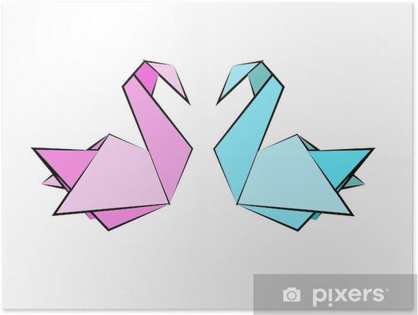 Poster Origami zwanen roze blauw - Zwanen