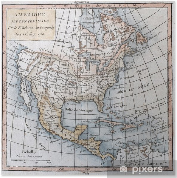Original antique north America map Poster • Pixers® • We live to change